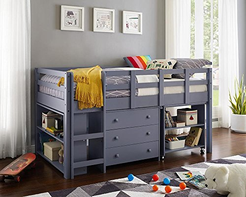 Naomi Home Low Study Loft Bed Gray/Twin