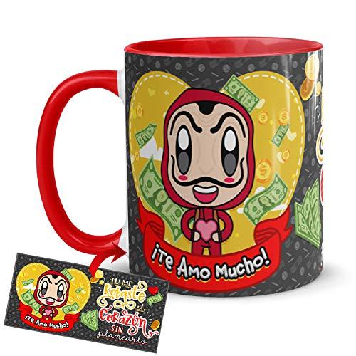 Kembilove Taza Desayuno para Parejas – Tazas Originales de Frikis para Enamorados – Taza Roja con Mensaje Gracioso Tu me robaste el corazón sin planearlo – Tazas para regalar el día de San Valentín