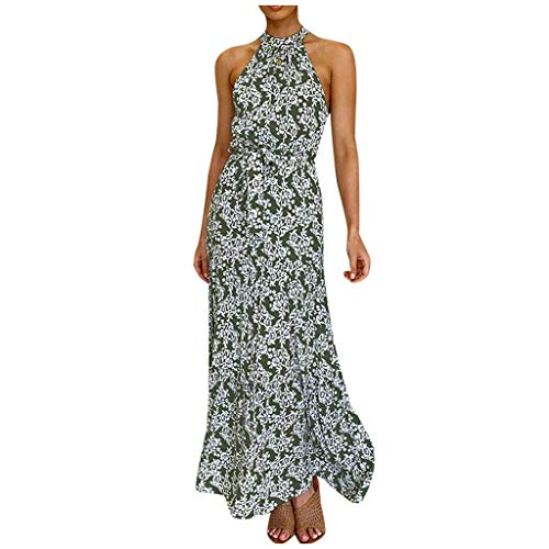 LUCKYCAT Mujeres Vestido Floral V Cuello Correa sin Mangas Cintura Casual Verano Boho Playa Maxi Vestido Sling Largo Maxi Vestido Vestidos de Verano Mujer 2020