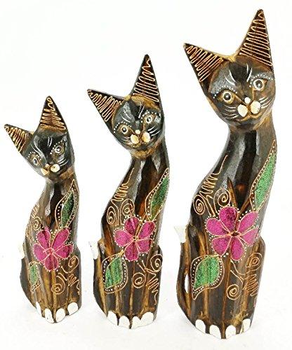 3 er Set Holz Katze Holzkatzen Katzen ca 35cm 30cm 25cm Fair Trade Handarbeit S2
