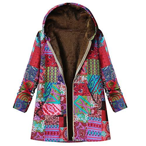 TOPKEAL Jacke Warme Mantel Damen Herbst Winter Sweatshirt Blumendruck mit Kapuze Kapuzenjacke Hoodie Taschen Pullover Übergroße Outwear Coats Mode Tops (rot-1, XXXXXL)