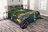 ABAKUHAUS Frankreich Tagesdecke Set, See von Annecy Stadtlandschaft, Set mit Kissenbezügen Feste Farben, 220 x 220 cm, Mehrfarbig