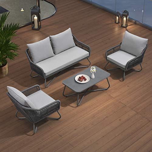 PURPLE LEAF Gartenmöbel Set in Grau, Sitzgruppe für Terrasse Rasen Garten, Loungemöbel Gartenlounge, Andros