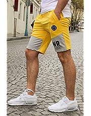 Madmext Renk Bloklu Baskılı Sarı Şort 2916