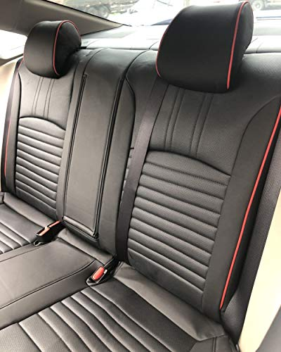 EKR Custom Car Seat Covers for Select Honda Civic Hatchback 2016 2017 2018 2019 2020 2021 - Leatherette ((Black with Red Trim)