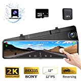 Karsuite M9 12' Mirror Dash Cam 2560x1440P Backup Camera with GPS Touch Screen Front and Rear View Dual Lens Full HD WDR Night Vision, G-Sensor (Free 32GB SD Card Included) for Cars/Trucks