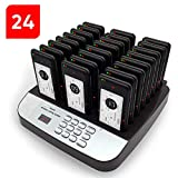 NOLAS Corum Restaurant Call Coaster Pagers/Guest Waiting Pager/Wireless Paging System with Charging Dock and Transmitter (Available in 10/16/24/32/48/64/80/96 Units) (1-24)