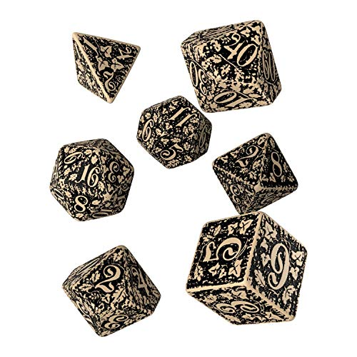 Q WORKSHOP Forest Engraved beige & Black RPG Ornamented Dice Set 7 polyhedral Pieces