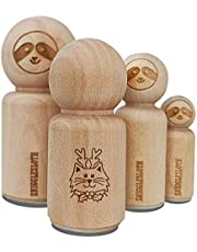 Cat Reindeer Christmas Rubber Stamp for Stamping Crafting Planners - 1/2 Inch Mini