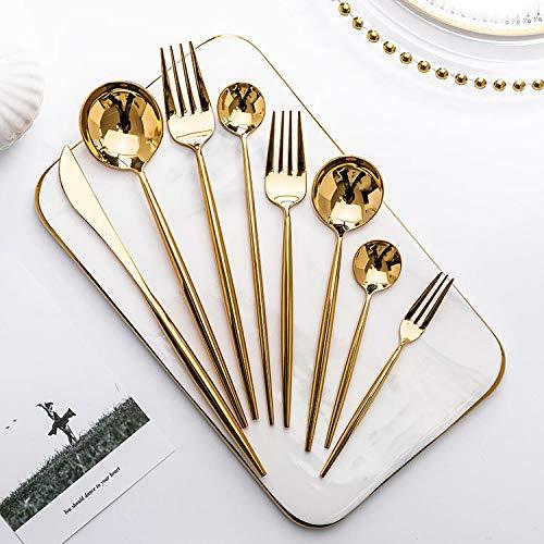 Juego de cubiertos de oro tenedores cucharas Cuchillos Vajilla de acero Set de vajilla de acero inoxidable Set Palillo cuchara cuchillo tenedor
