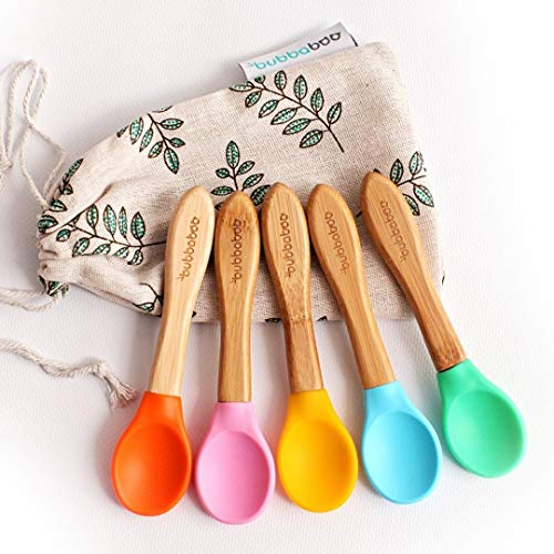 Bubbaboo Pack of Five Bamboo Baby Feeding Spoons with Soft Silicone Tips