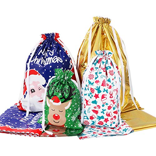 Amosfun Christmas Drawstring Gift Bags 30pcs Assorted Wrapping Bags Upgraded Christmas Goodie Bags for Birthday Christmas Party