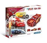 Clementoni-20160 Puzzle 104 Piezas +Modelo 3D Cars, Multicolor (20160.0)