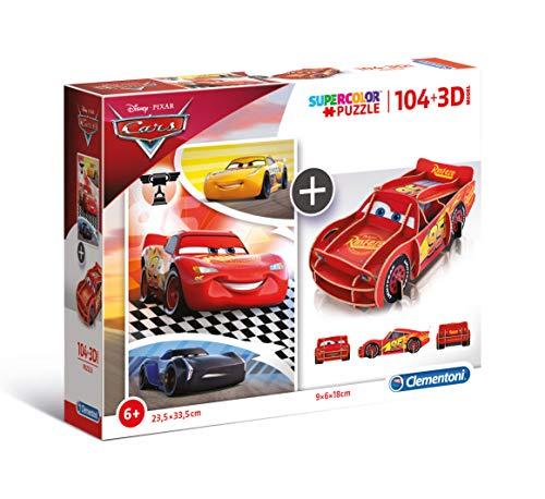 Clementoni-20160 Cars Puzzle 104 Piezas+3D Model
