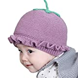 Lazeny Baby Hüte Strickmützen Niedlich Spitze Erdbeere Kindermützen Wintermütze Häkelstrick Winter Warm Hüte Gestrickte Kappe für Mädchen Jungen Kleinkind (0-12 Monate)-Lila