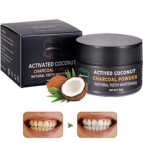 Aktivkohle Pulver,Zahnaufhellung,Weiße Zähne,Natürliche Zahnpasta, Kokosnuss Activated Charcoal Zahnpasta Natürliche Carbon Coco Pulver Mint Flavour
