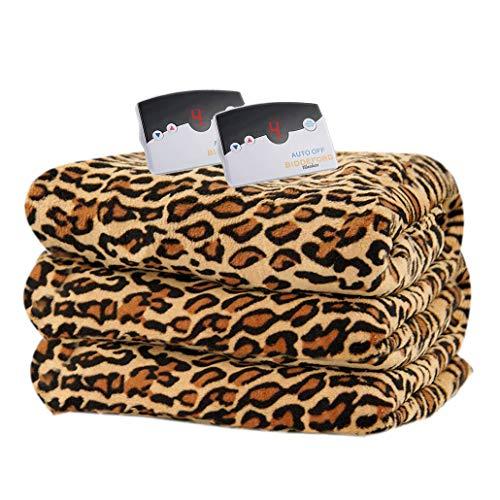 Biddeford 2033-905191-910 MicroPlush Electric Heated Blanket Queen Leopard