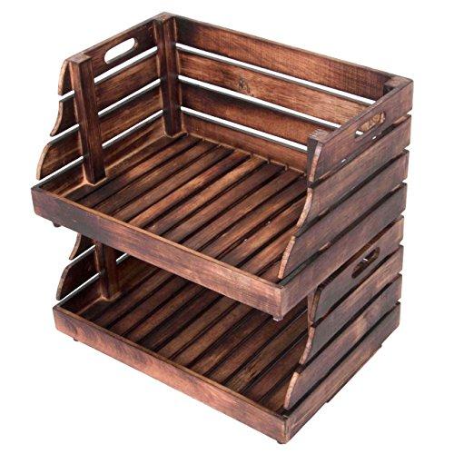 Divero 2er Set Vintage Holzkiste Stapel-Kiste Spielzeug-Box Stiege braun geflammt Aufbewahrung 49x35x25,5cm Obst- und Gemüsekisten-Look