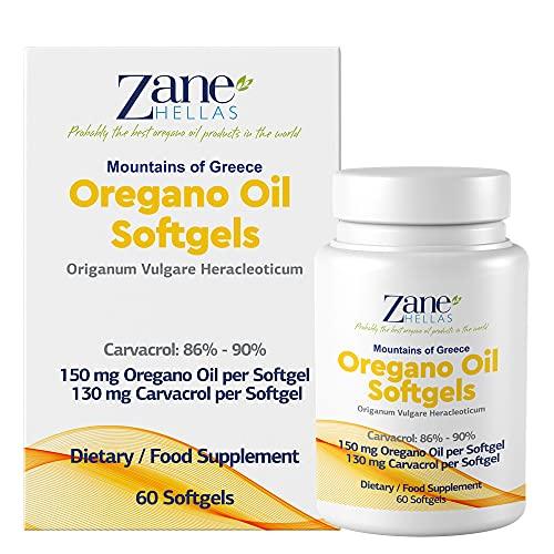 Zane Hellas Oregano Oil Softgels. La concentration la plus élevée au monde. Chaque Softgel contient 30% d'huile essentielle grecque pure d'origan. 130 mg de carvacrol par softgel. 60 gélules.