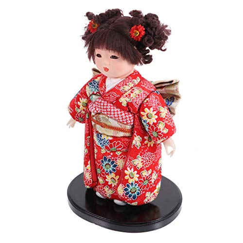 WINOMO Japanese Geisha Kimono Doll Wooden Kokeshi Toy Asian Collectible Figurines for Home Office Table Decorative Ornament (Random Color 2)
