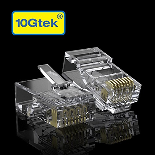 [100 Stück] 10Gtek® CAT6 RJ45 Stecker, 8P8C Crimpstecker Vergoldete UTP Steckverbinder, Ethernet-Kabel RJ45-Modularstecker mit Flexibler Verriegelung, MEHRWEG