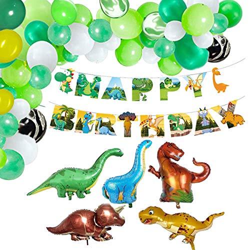Vohoney Decoración de cumpleaños, decoración de cumpleaños, juego de decoración para fiestas de cumpleaños, color negro, decoración de cumpleaños (verde jungla, globo de dinosaurio)