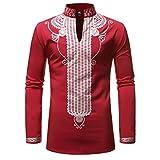 Chyoieya Blanco Impresión Africana Dashiki Impresión Camisa Hombres Moda Streetwear Casual Ropa Africana Hombres Camisa Manga Larga