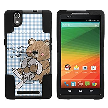 Compatible with ZTE ZMax Z970  T-Mobile Metro PCS  Hybrid Dual Layer Inverse Case with Built-in Kickstand Cover Bundle Includes Free Screen Protector  Bear Hug