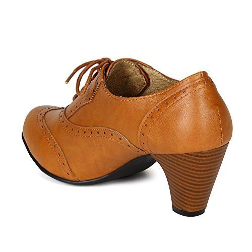 Women's Cuban Chunky Heel Lace-up Ankle Booties Oxford Shoes Tan 8.5