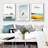 Home Decor Nordic Canvas Painting Abstract Landscape Seascape Picture Living Room Corridor Hotel Wall Art Background Props DIY 40x60cmx3 Unframed
