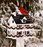 "Plow & Hearth Lighted Holiday Colonial Cottage Birdhouse, Auto-Timer Operated LED Lights, Cedar Shake Shingles, Easy-Clean Removable Back Wall, Attracts Songbirds, 7½""L x 10¼""W x 11"" H"