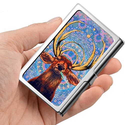 Tarjeta de visita profesional, caja de la cartera de acero inoxidable Titular de la tarjeta de identificación de tarjeta de crédito Deer Deer