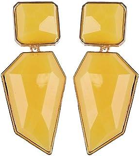 Jalea Cuelga Los Pendientes De Plata De Ley De Cristal Sólido De Colores (Amarillo)