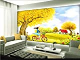 Tapete Schöne Herbstlandschaft Ginkgobaum Hintergrund Wandbild-430 * 300Cm