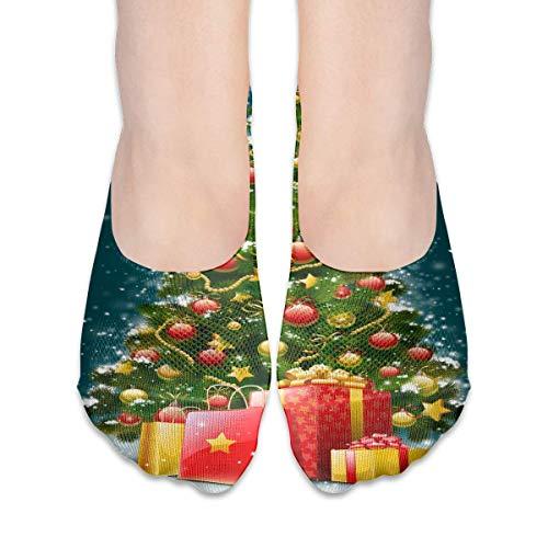 ALPHNJ Socken Großer Weihnachtsbaum Erstaunliche Damen Low Cut Socke Athletic Invisible Socken für Mädchen