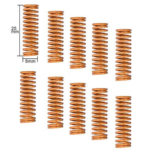 PoPprint - Muelle de cama calefactado para impresora 3D Creality CR-10 10S S4 Ender 3 muelles de conexión inferior longitud 25 mm OD 8 mm ID 4 mm para impresora 3D. (10 unidades)