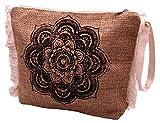 Bali PAPAYA - Bolso de mano de arpillera - Neceser de maquillaje étnico vintage artesanal forrado bohemio para mujer, ecológico, natural, mandala, flor negra