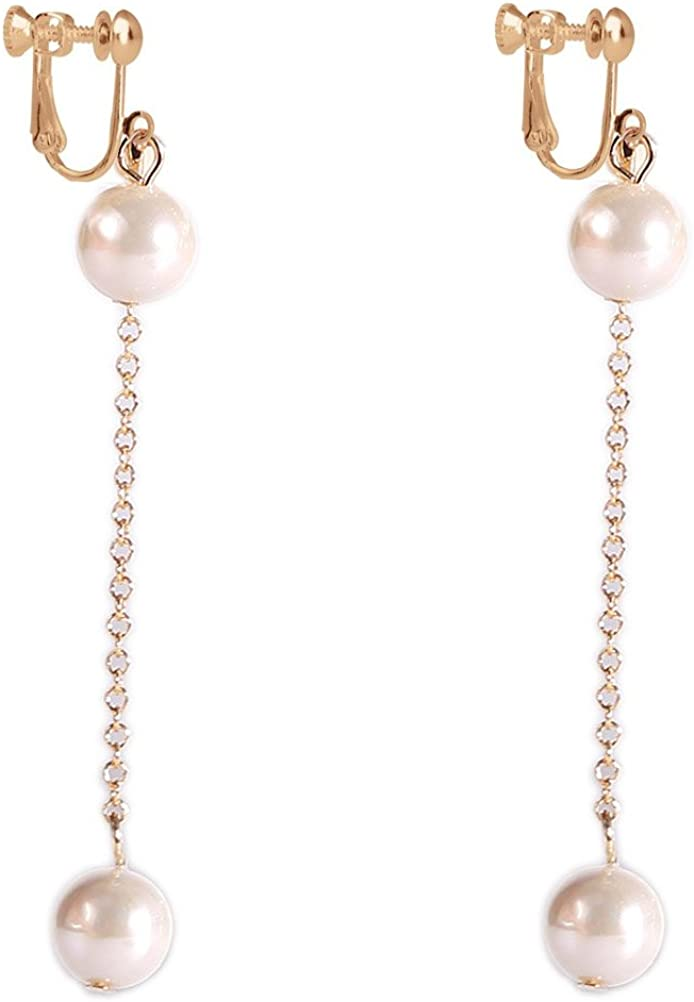 Clip on Dangle Earring Double Simulated Pearl Long Tassel Clips for non Pierced Gold-tone for Banquet