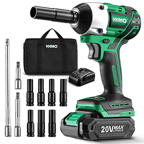 KIMO 20V 1/2 Impact Wrench, Cordless Brushless Impact Wrench Set 250 Ft-lb High Torque 3000 RPM, Li-ion Battery Fast Charger 7 Sockets 3 Extension Bars, Compact Electric Battery Wrench for Car Home