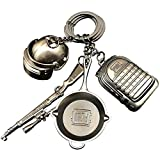 hebensi 4 Pcs Metal Keychain Including Level 3 Helmet Level 3 Backpack Kar98K and Frying Pan Iron Key Ring Pendant
