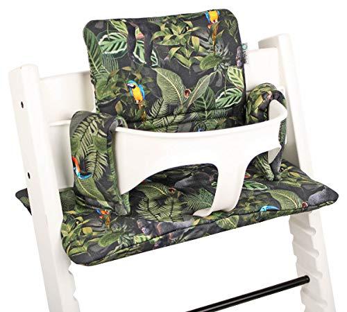 Beschichtetes Sitzkissen Sitzverkleinerer Kissen von UKJE für Stokke Tripp Trapp Beschichtet Praktisch und dick gepolstert Grün Dschungelmuster Maschinenwaschbar 2-teilig Öko-Tex Baumwolle
