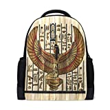 QMIN - Mochila con estampado de pergamino egipcio de la religión antigua, bolsa para la escuela, viaje, escuela, senderismo, camping, bolsa de hombro, organizador para niños, niñas, mujeres y hombres