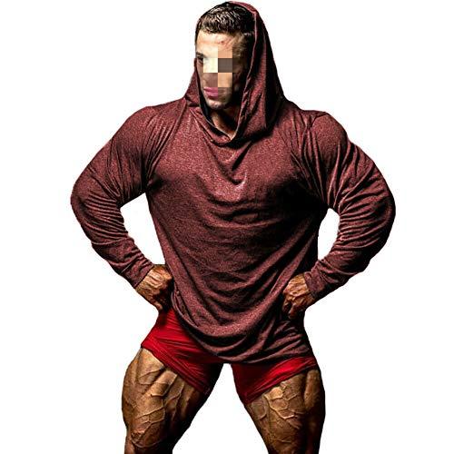 Männer Langarm Muskel Hoodie Muskel Bodybuilding Beiläufige Workout Hoodie Sweatshirt Sport Oberteil mit Kapuze T-Shirt (Wine, XXL)