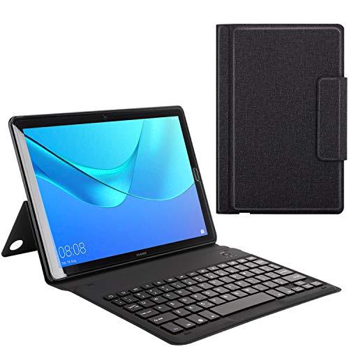 MoKo Funda Compatible conHuawei MediaPad M5 10.8 - Teclado Inalánbrico Wireless Bluetooth Keyboard Cover Case QWERTY Compatible con Huawei MediaPad M5 10.8 - Denim Negro