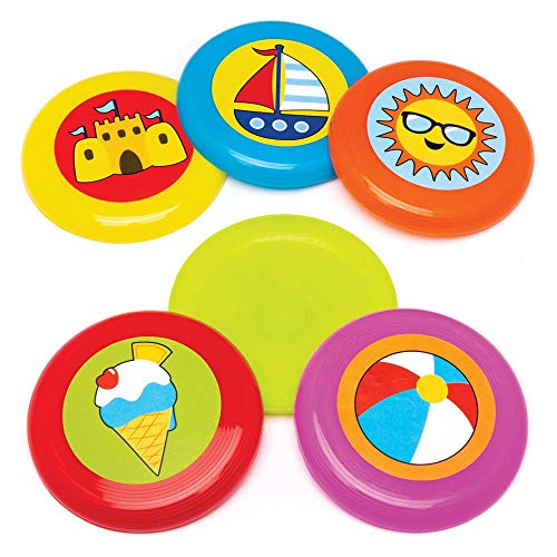 Baker Ross Seaside Flying Discs (Pack van 6) Outdoor Flying Block Rings Perfect voor Kids Goodie Bags, Halloween Party Favors, Pinata Filler of verjaardagscadeau