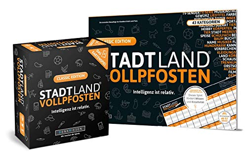 DENKRIESEN Stadt Land VOLLPFOSTEN - Classic-Duo - Das Kartenspiel und der Spielblock - Classic Edition