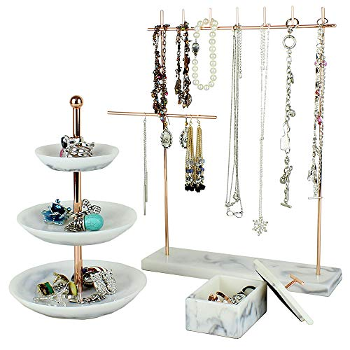 Rose Gold Jewelry Organizer Set 3 Easily Organize Necklaces Earrings Rings Bracelets Incl 12 5 H Jewelry Rack 3 Tier Ring Holder Dish Jewellery Trinket Box For Women Buy Online In