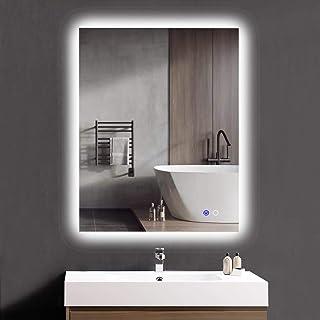 "Keonjinn 36""x 28"" Bathroom LED Mirror Backlit Wall Mounted Makeup Mirror Anti-Fog Vanity Mirror with Lights (Horizontal/Vertical)"