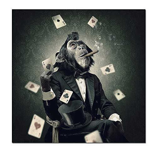 WSNDGWS Roken en spelen Monkey Wall Art Canvas Prints Abstracte Dieren Art Canvas Schilderijen Muurdecoratie Foto's voor Woonkamer|Schilderen & Kalligrafie 30x30cm A2