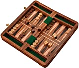 BEST Chess Two in One Fordable Wooden Backgammon Game Set, Classic Board Game Case (Brown) 12x12 Inches